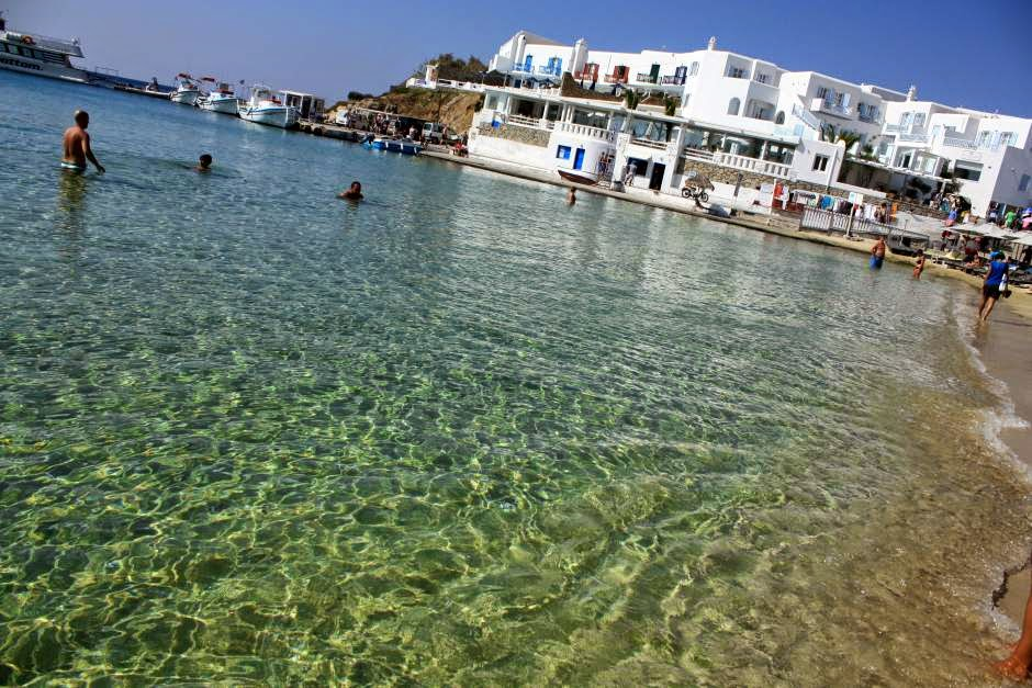 Platys Gialos beach in Mykonos