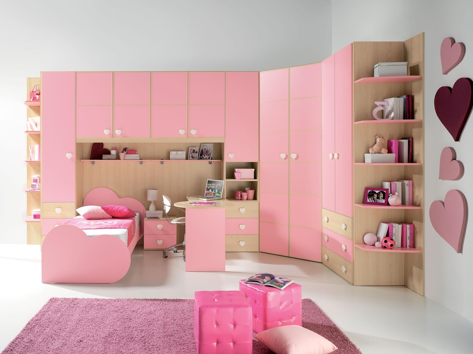 Charming pink theme living room bedroom and kitchen for Pink paint for bedroom ideas