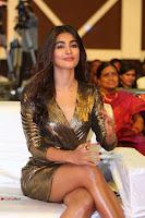 Pooja Hegde looks glamarous in deep neck sleevless short tight golden gown at Duvvada Jagannadham thank you meet function 117.JPG