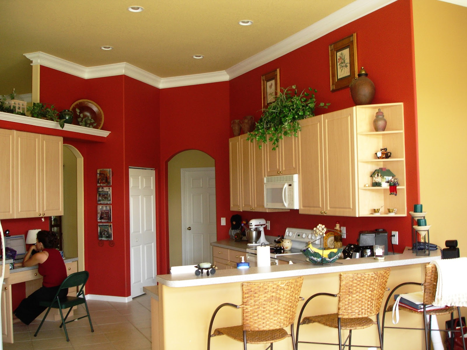 White Kitchen With Red Accents Kitchen With White Cabinets And Red Walls Roselawnlutheran