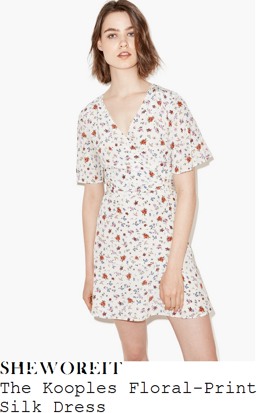 stacey-solomon-the-kooples-cream-poppy-red-lilac-baby-blue-and-multicoloured-ditsy-floral-print-short-sleeve-plunge-wrap-front-high-waisted-silk-mini-dress