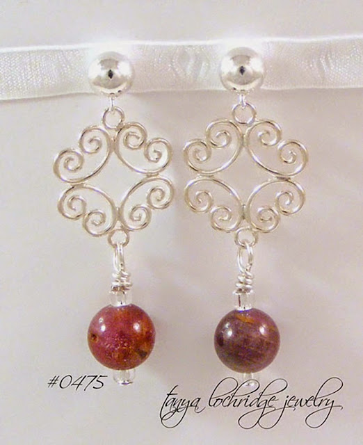 Tanya Lochridge Jewelry Ruby Gemstone Filigree Sterling Silver Drop Earrings