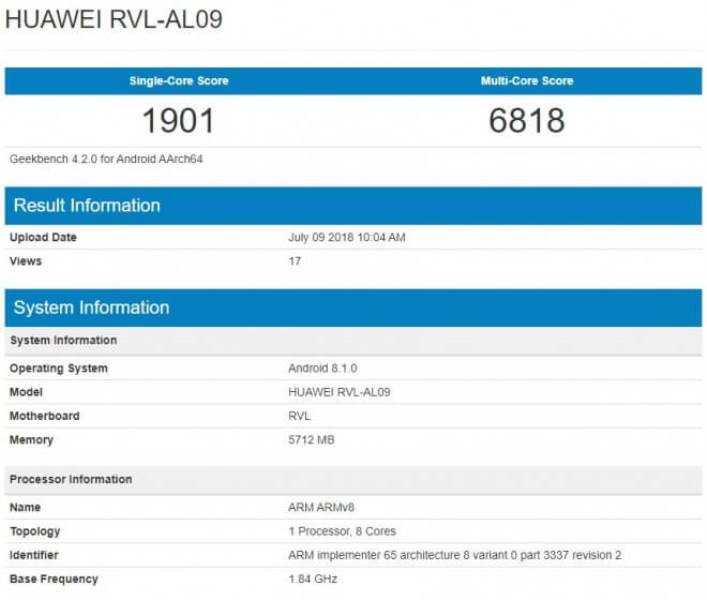 Honor Note 10 Sited on Geekbench