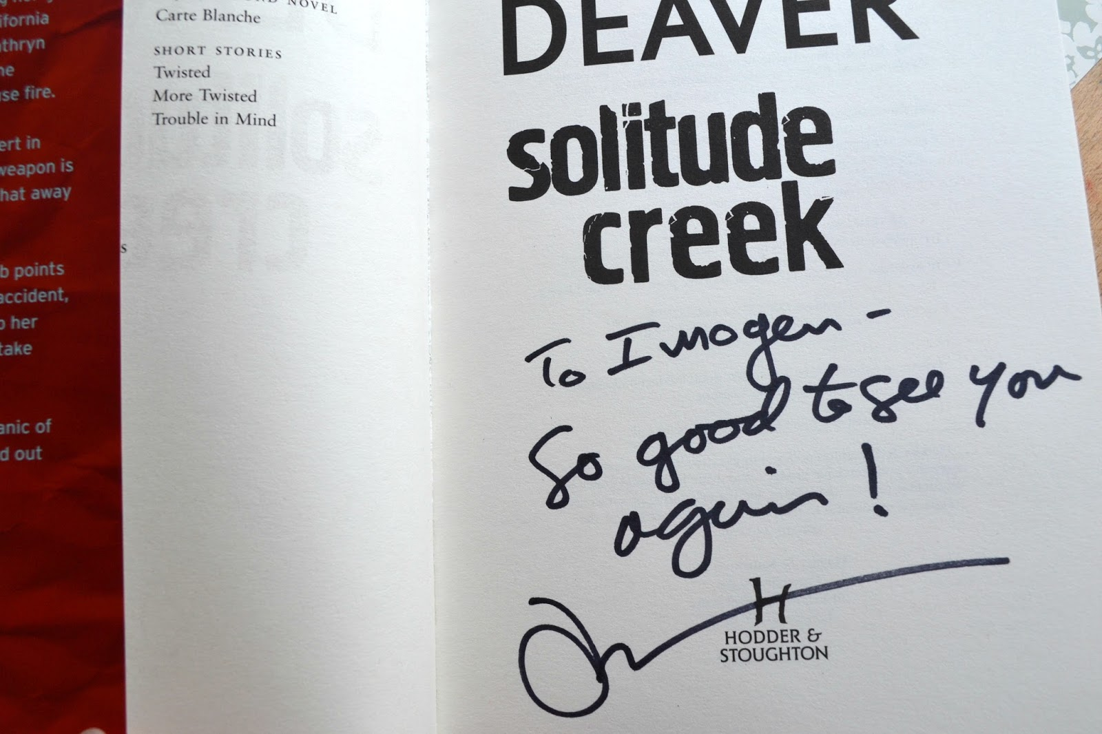 Signed Solitude Creek by Jeffery Deaver