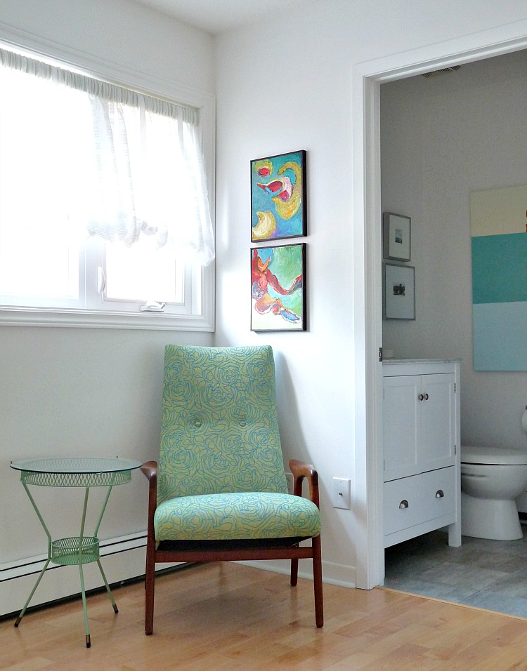 Mint green retro chair and table