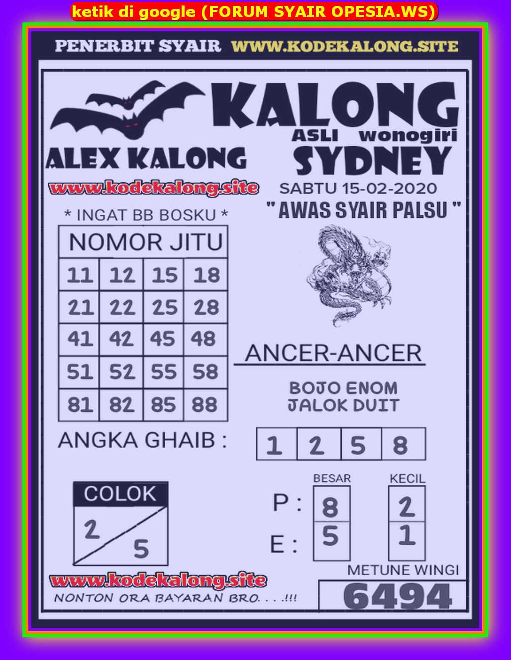 Kode syair Sydney Sabtu 15 Februari 2020 67