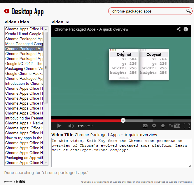 Sandip Chitale's Blog: Desktop App for YouTube with embedded