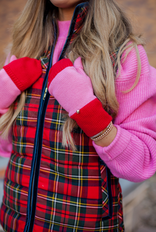 j.crew plaid vest with kate spade gloves