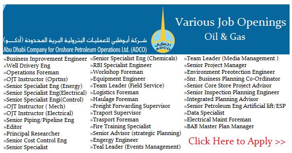 Abu Dhabi Company for Onshore oil Operations (ADCO) Job