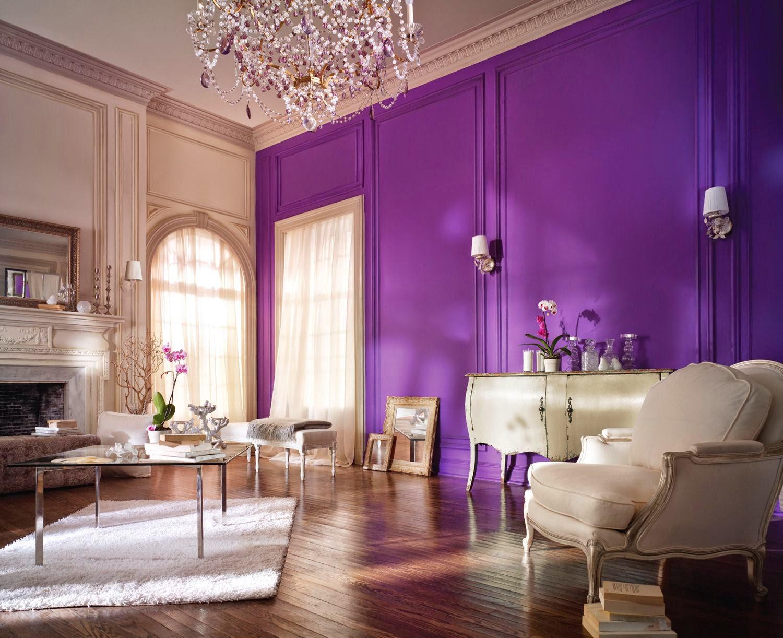 Salas en violeta y blanco  Salas con estilo