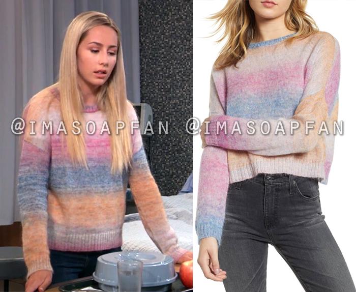 Josslyn Jacks, Eden McCoy, Ombre Rainbow Sweater, General Hospital, GH