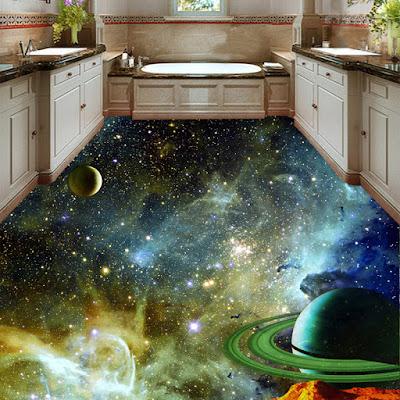 space murals for 3d bathroom flooring