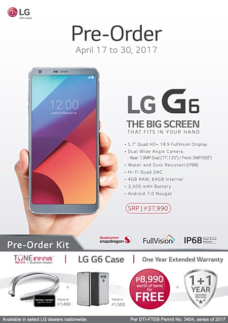 LG G6 Officially Launched in PH for P37,990, Available for Pre-order
