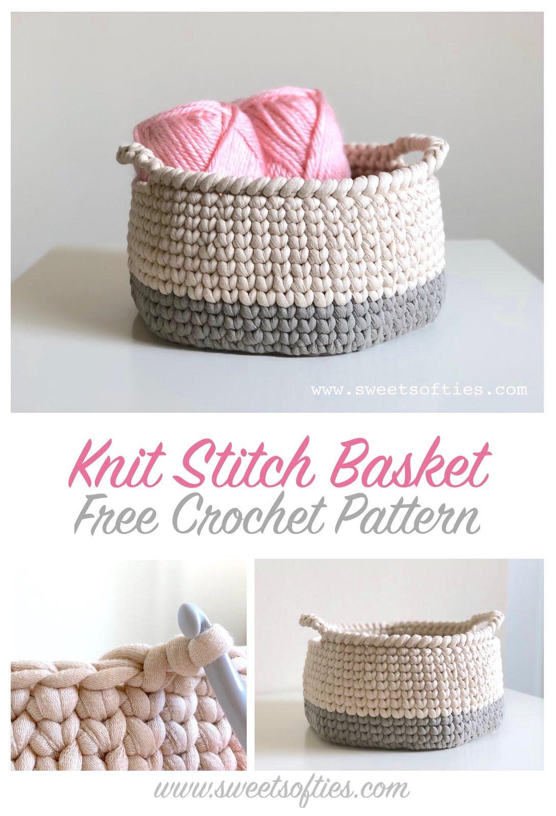 Knit Stitch Basket Free Crochet Pattern Video Tutorials For