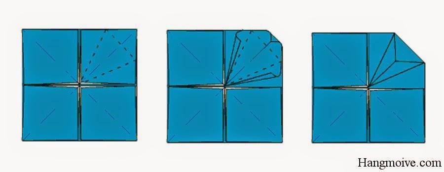 Bước 11: Gấp tạo mép các đường đứt đoạn lại (như hình dưới). Sau đó ta lại mở ra mục đích để tạo thành các nếp gấp.