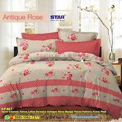 Sprei Custom Katun Lokal Dewasa Antique Rose Bunga Floral Pattern Krem Pink