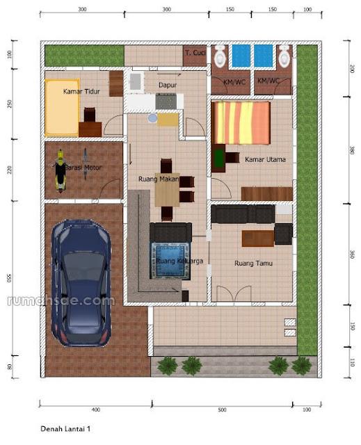 Denah Rumah di Lahan 12 m x 10 m  Rumah Sae