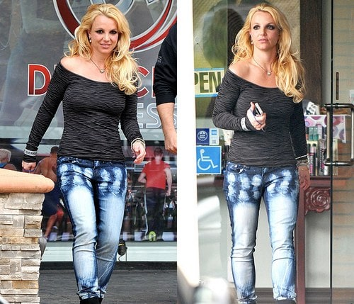Acid washed jeans with Britney Spears