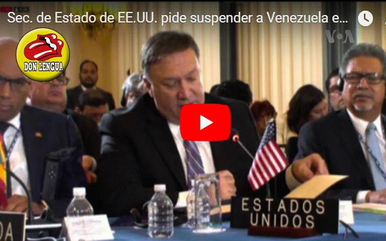 Estados Unidos solicita formalmente expulsión inmediata de Venezuela de la OEA