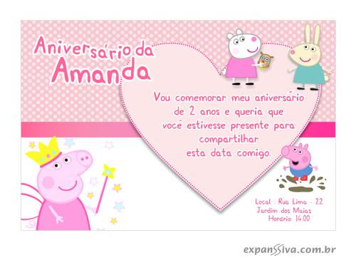 convite de aniversario peppa pig 4 - Convite de Aniversário Infantil Peppa Pig
