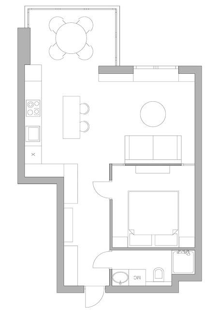 plan de amenajare pentru un apartament de 36 mp