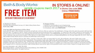 free Bath And Body Works coupons march 2017