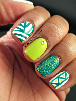 Color Club Fiesta Collection, Wild Cactus, Sunrise Canyon, Salon Perfect Kaboom, green, teal, lime, tribal, skittle, skittlette, floam dupe, nails, nail art, nail design, mani
