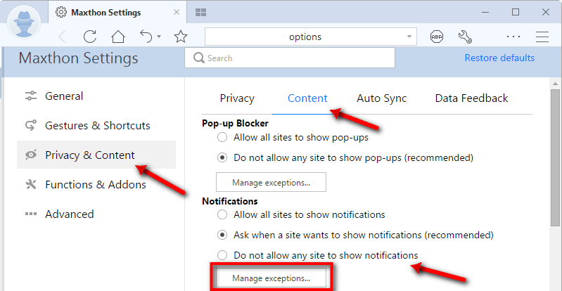 Disable Notifications From Websites