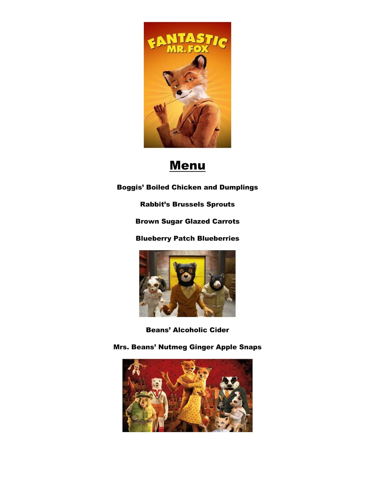 Reel Fancy Dinners Fantastic Mr Fox Dinner