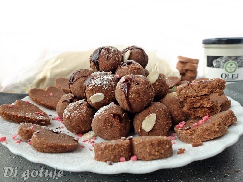 Kuleczki/ciasteczka czekoladowo-kokosowe bez pieczenia (z mąki kokosowej)