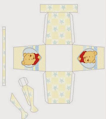 Winnie the Pooh Bebé: Caja con Forma de Regadera para Imprimir Gratis.