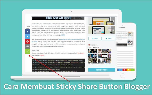Cara Membuat Sticky Recent Post Slide Out On Scroll Cara Membuat Sticky Share Button Blogger