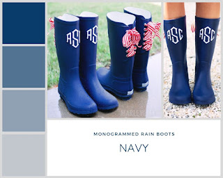 monogrammed navy rain boots