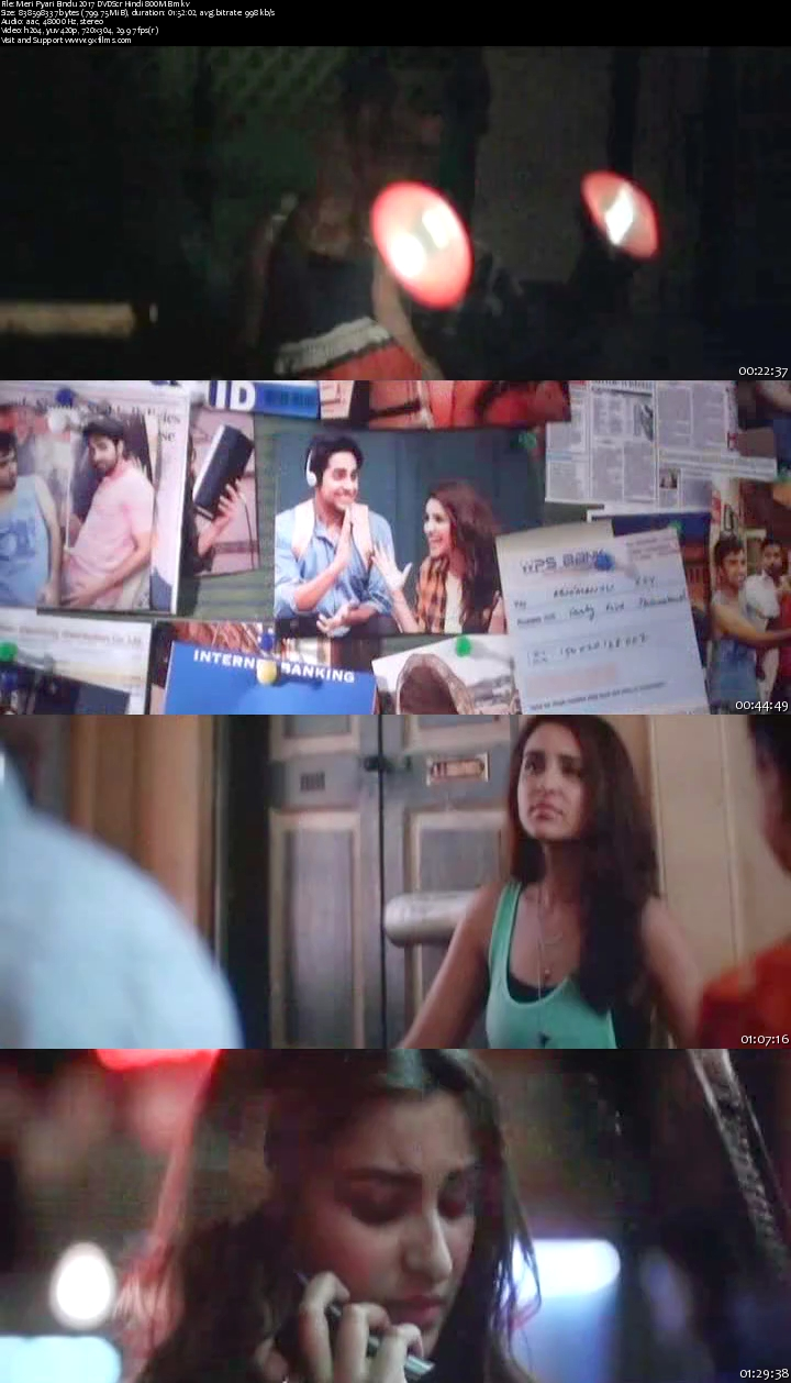 Meri Pyari Bindu 2017 DVDScr Hindi 800MB