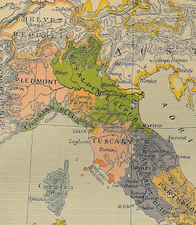 A map from 1799 showing the area of the  Cisalpine Republic (in green)