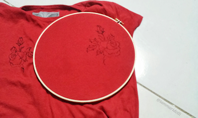 Embroidery, rose, tshirt, red