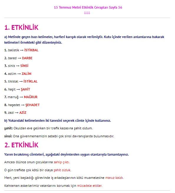 15 Temmuz Metni Cevapları sayfa 56