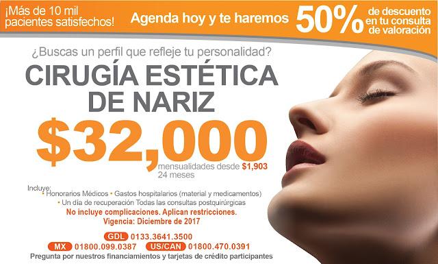 Precio Paquete Cirugia Estetica Plastica Nariz Rinoplastia Guadalajara Mexico