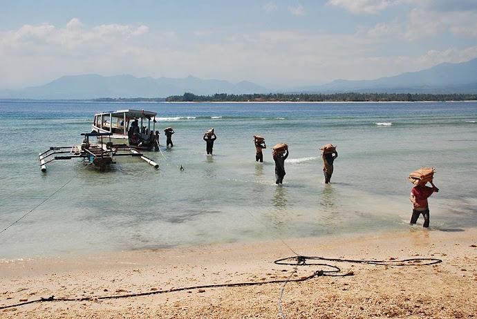 Gente descargando una barca