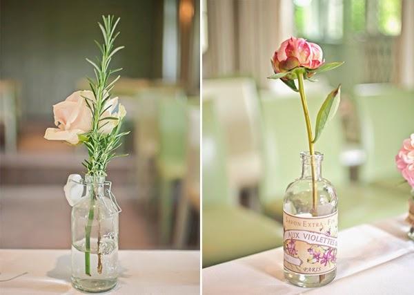 decoração de casamento garrafas de vidro