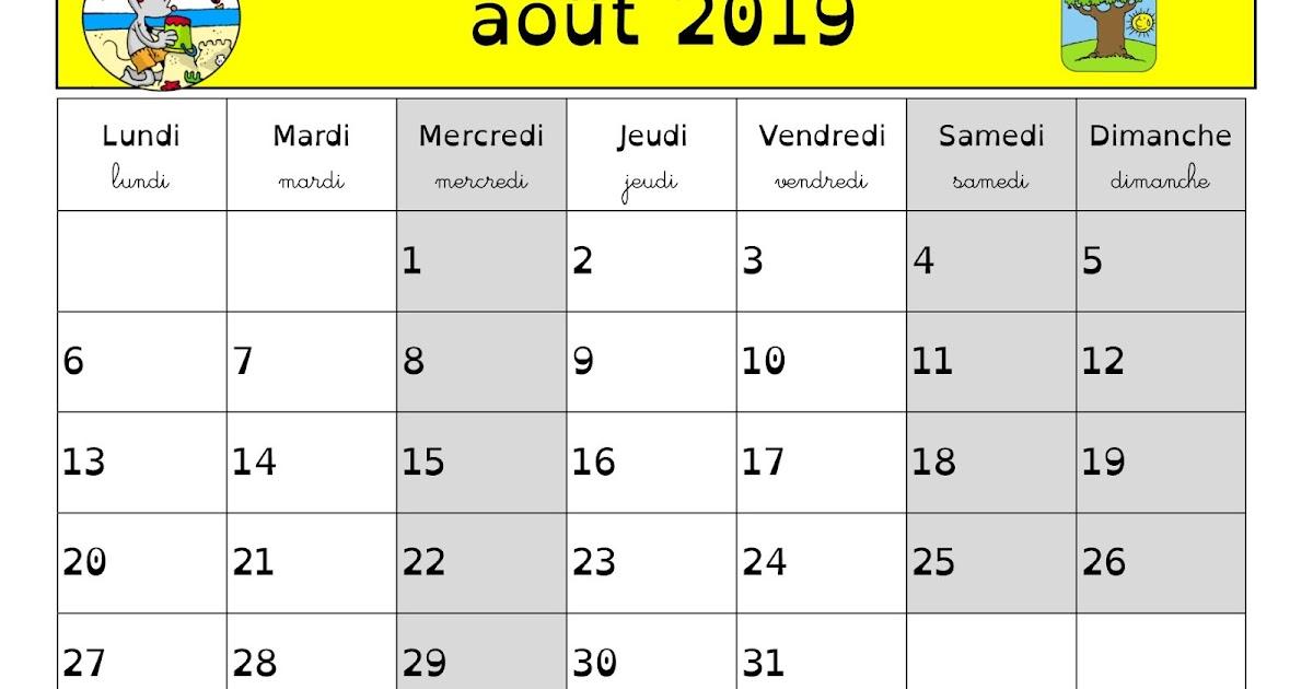 Calendrier Du Mois De Juillet 2019.En Classe Avec Ludo Calendrier 2018 2019 Juillet Aout