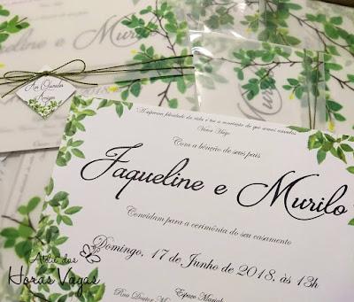 convite de casamento artesanal personalizado tropical folhagem folhas verde praia sofisticado diferente luxo envelope vegetal wedding