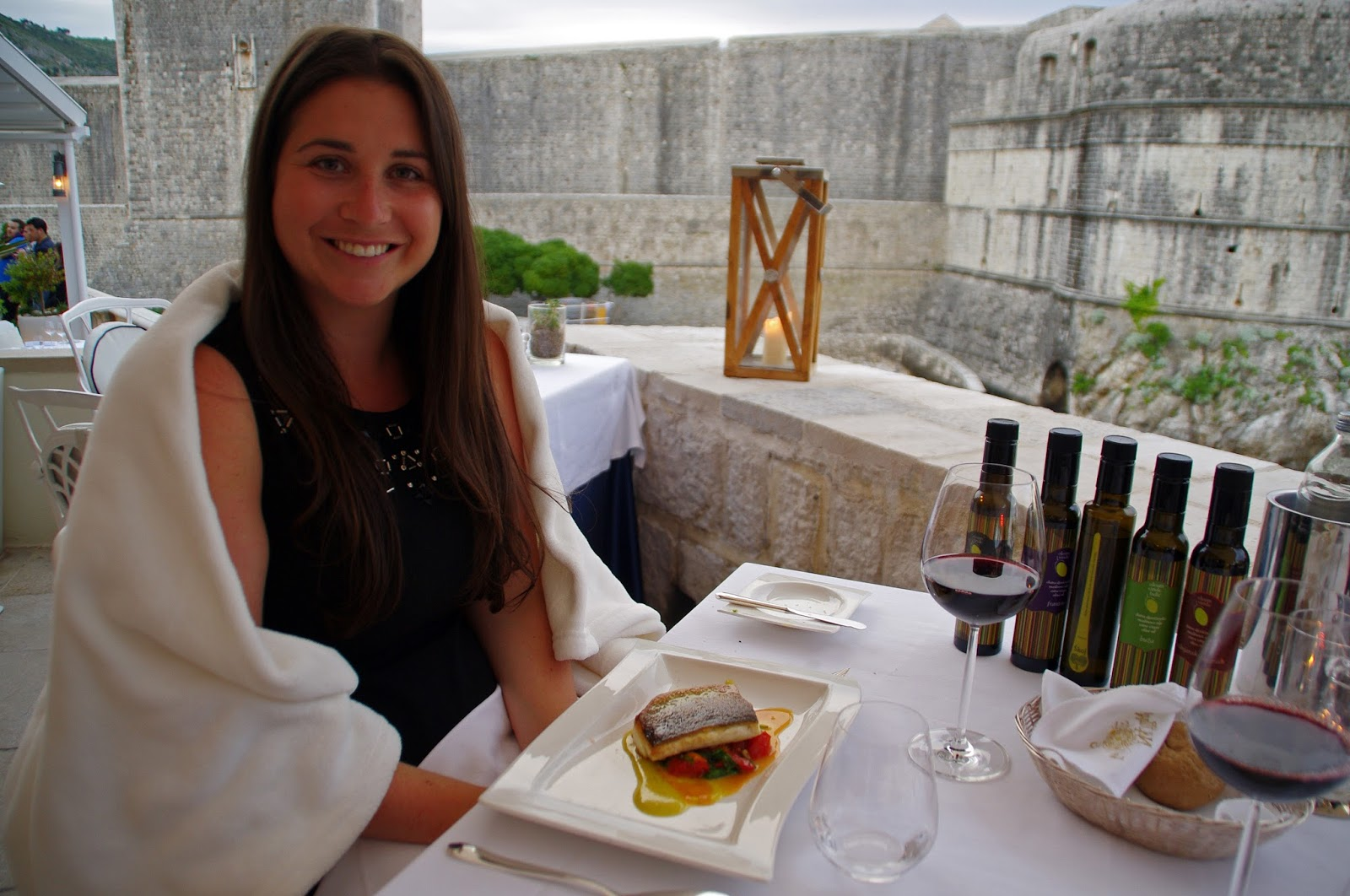 Simone with sea bass main course at Nautika Restaurant Dubrovnik