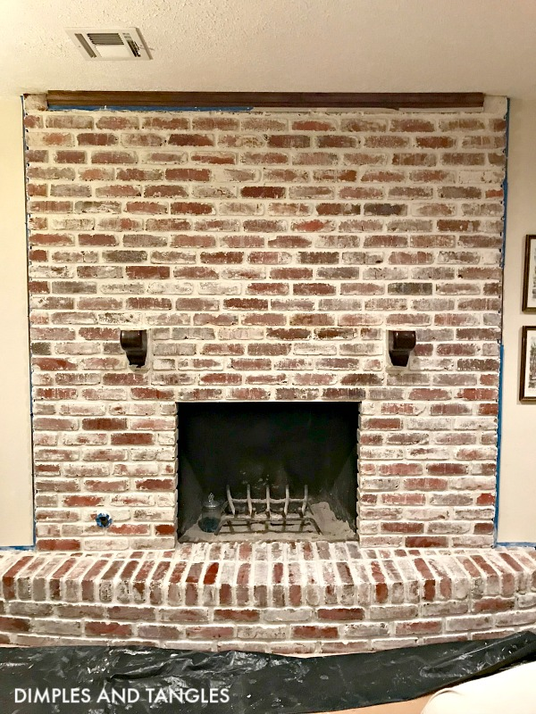 mortar wash brick fireplace makeover