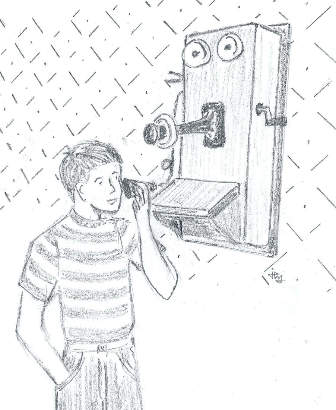 drawing of a boy using a wooden crank wall telephone for the children's book The Hitchhiker