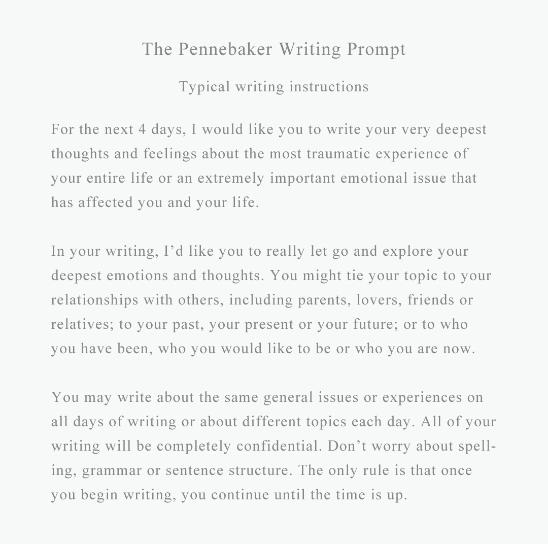 Pennebaker writing project