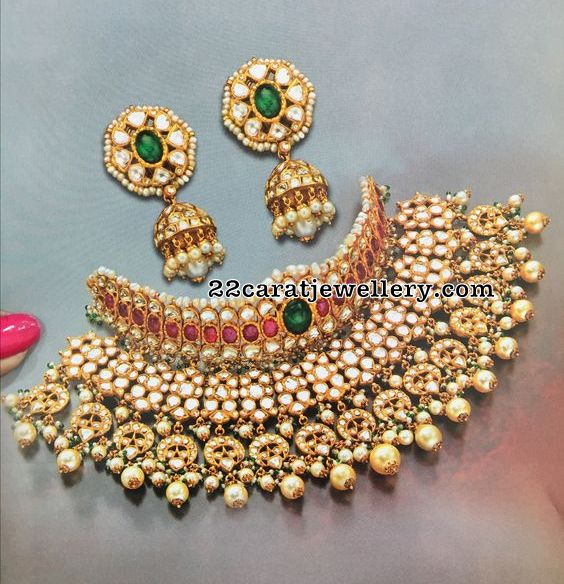 Kundan Set with Jhumkas by Mangatrai
