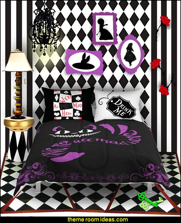 Alice in Wonderland bedroom decor - Alice in wonderland themed rooms - design  an Alice in Wonderland Bedroom  - Alice in Wonderland bedroom ideas - Alice in Wonderland bedding - Alice in Wonderlnd wall decals - Alice in Wonderland wall murals - alice in wonderland wallpaper mural -  tea party theme - alice in wonderland bedroom furniture