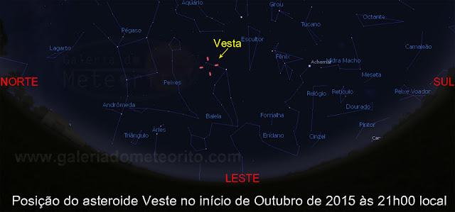 Posição do asteroide Vesta no céu em outubro de 2015