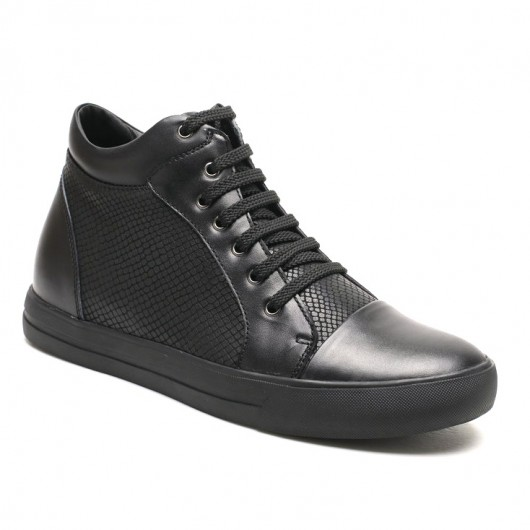 High Top Height Increasing Sneaker Casual Leather Elevator Shoes To Gain Height